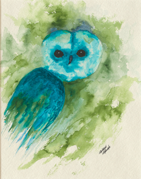 Blue-Green Barn Owl #1